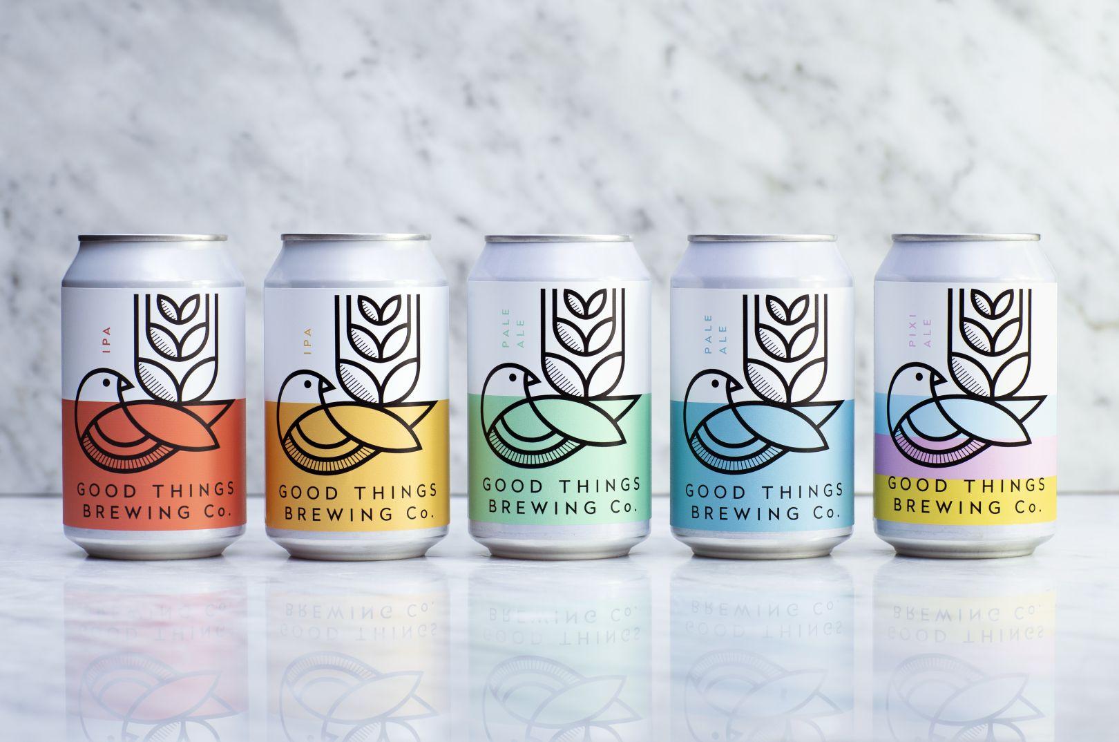 В 2020-м году в студии Horse коммуникативные дизайнеры разработали брендинг и упаковочный дизайн для первой в мире экологичной пивоварни Good Things Brewing